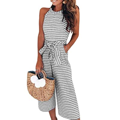 NINGZ Women's Summer Jumpsuits Striped Tie Back Sleeveless Backless Wide Long Pants Rompers: Clothing