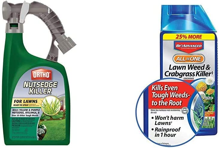 Ortho Nutsedge Killer for Lawns Ready-to-Spray, 32oz & BioAdvanced 704140 All-in-One Lawn Weed and Crabgrass Killer Garden Herbicide, 32-Ounce
