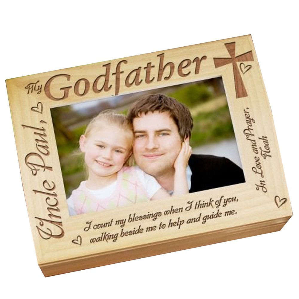 GiftsForYouNow Godparent Personalized Photo Keepsake Box, Wood, Godfather