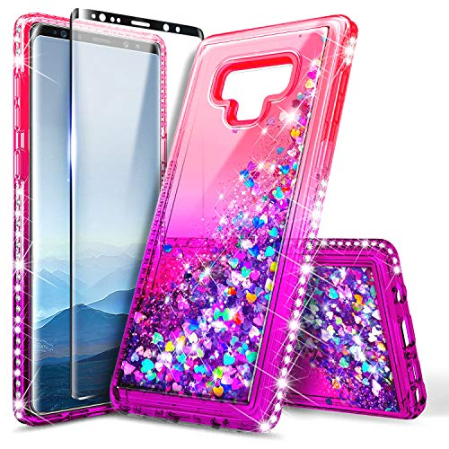 Galaxy Note 9 Case with Screen Protector (3D Pet Full Coverage) for Girls Women, NageBee Glitter Liquid Bling Floating Quicksand Waterfall Shockproof Cute Case for Samsung Galaxy Note 9 -Pink/Purple