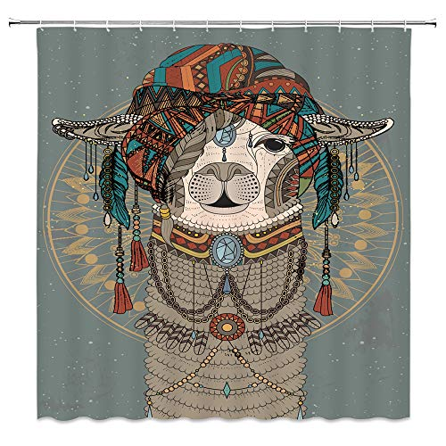 Llama Shower Curtain Alpaca Wearing Ethnic Headscarf Bohemian Peru Style Creative Animal Bathroom Curtains Polyester Fabric Waterproof 70 X 70 Inches Include Hooks Slate - Camel Curtain