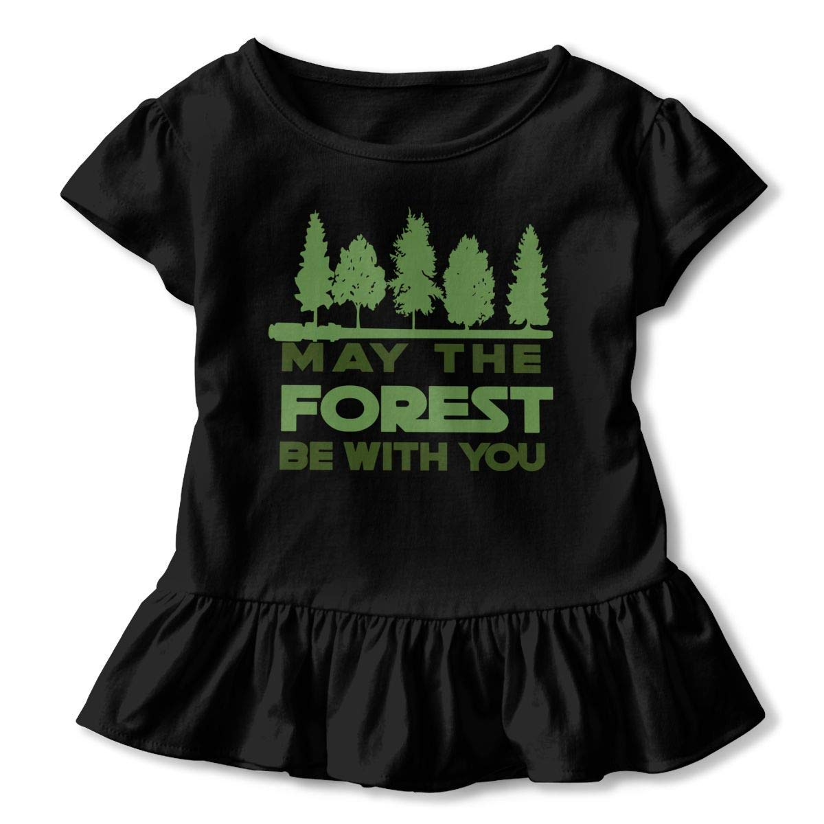 PMsunglasses Short Sleeve May The Forest BE with You T-Shirts for Kids 2-6T Fashion Sweatshirt with Falbala