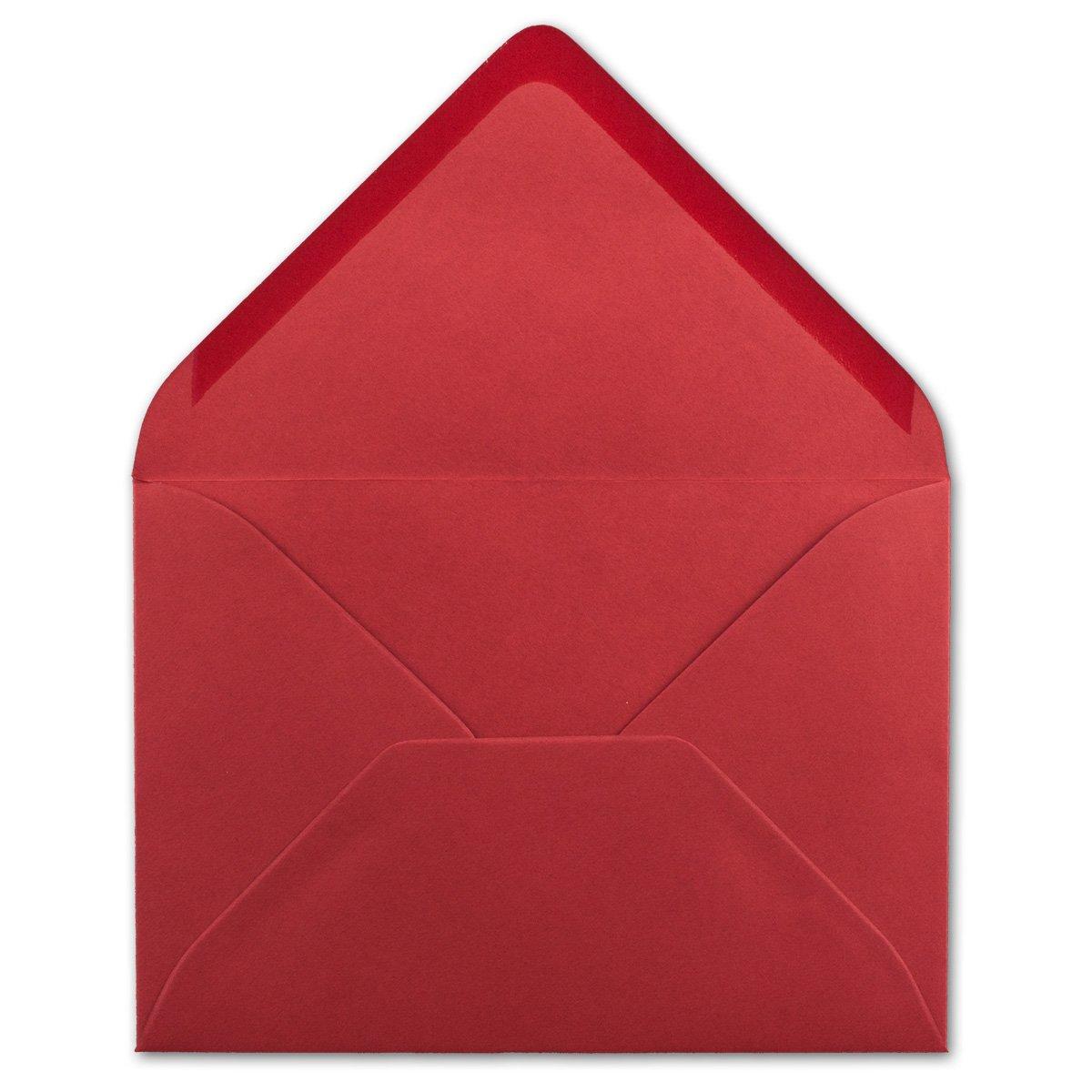 Rosenrot Gru/ß-Karten 120 g//m/² Nassklebung mit spitzer Klappe 50x Briefumschl/äge B6 17,5 x 12,5 cm F/ür Hochzeit Einladungen