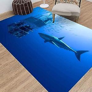 Jesmacti Rug Multi-Style Modern Interior Decoration Rug,Living Room Rug Rug, White Shark Cage Great Swims Suitable for Living Room Bedroom Kindergarten Dormitory (3X5 Feet)