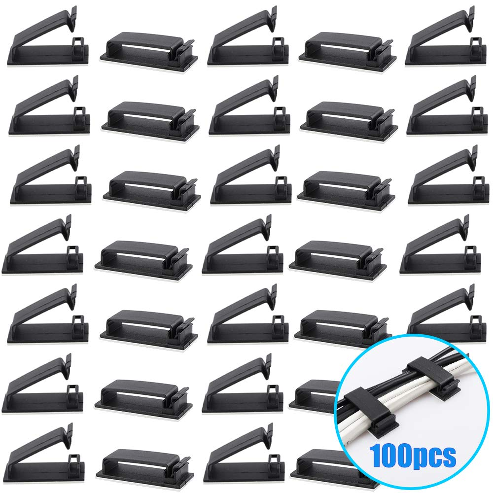 Benavvy Cable Clips, Ethernet Cable Organizer, Adhesive Wire Clamps, Desktop Cord Management, for Wire Management and Cable Runs, 100Pack (Black)