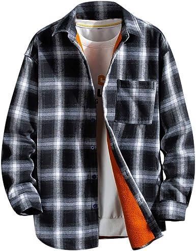 MINGGER Camisa de Franela para Hombre, Talla Grande, de Terciopelo: Amazon.es: Ropa y accesorios