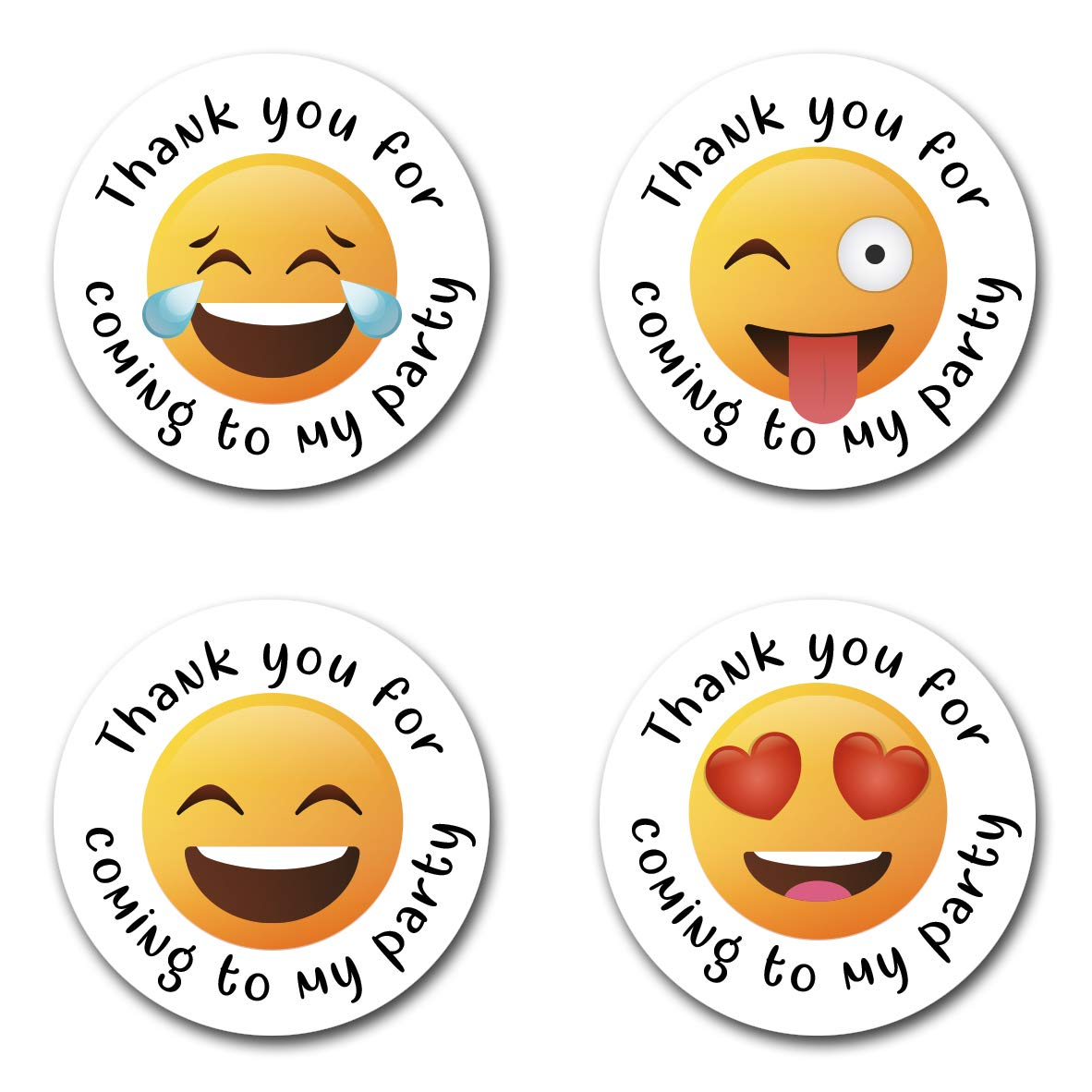 40mm Emoji *Thank You For Coming To My Party* Round Stickers for Party Bags /& Sweet Cones 24 x Stickers