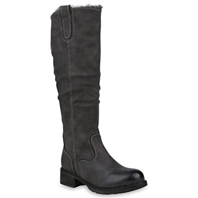 c67da0f76d26df Klassische Damen Stiefel Warm Gefütterte Winterstiefel Leder-Optik 153261  Grau Arriate 36 Flandell