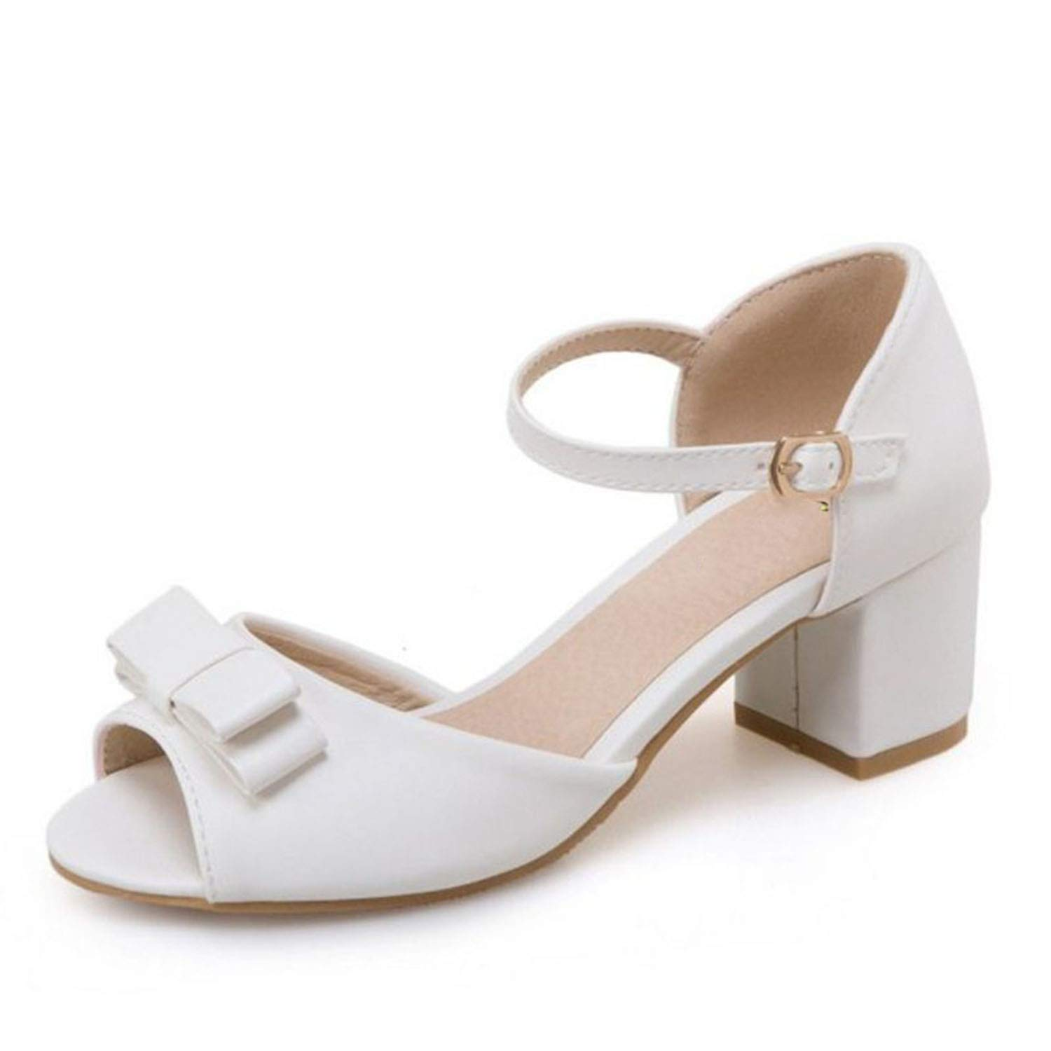 White Wenzi-day sandals Women's Ankle Strap Summer shoes Women Bowknot High Heel Sanadals Sweet shoes