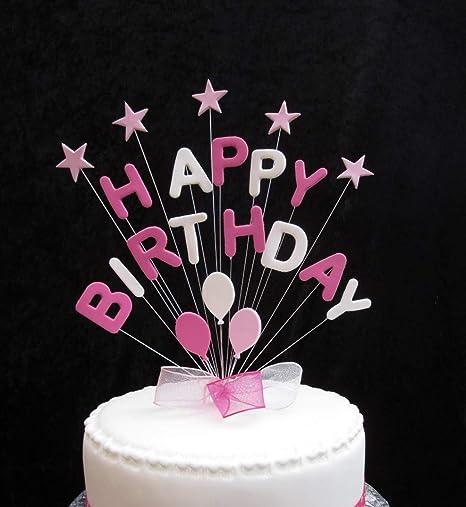 Decoration Pour Gateau D Anniversaire Inscription Happy Birthday Rose Et Blanc Avec Etoiles Et Ballons Plus 1 X M 25 Mm Motif A Pois Rose Vif 20 M X Amazon Fr Cuisine Maison