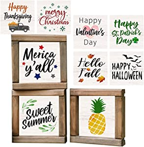 LIVDUCOT Farmhouse Wood Sign Set of 3 Frames with 18 Interchangeable Sayings and Pictures for Summer Fall Decoration Rustic Wood Frames Wall Art Set Framed Shelf Decor Tiered Tray Decor 6x6