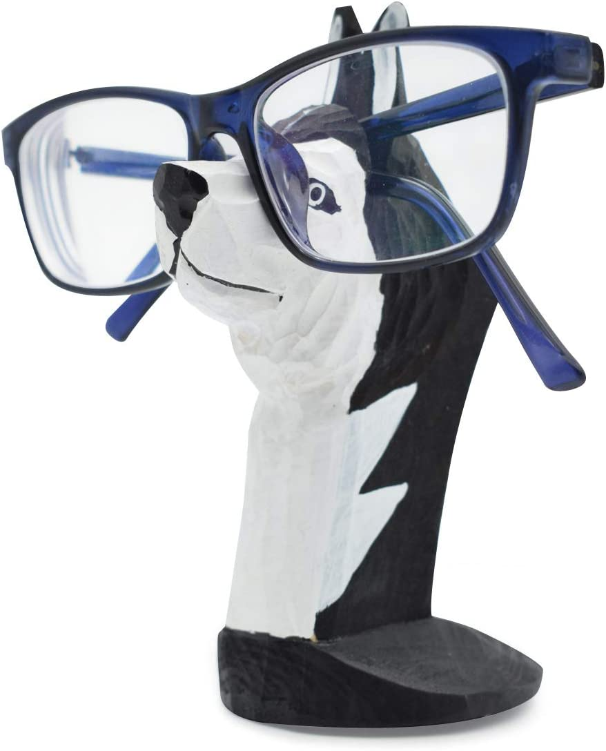 VIPbuy Handmade Wood Carving Eyeglasses Spectacle Holder Stand Sunglasses Display Rack Home Office Desk Décor Gift (Husky Dog)