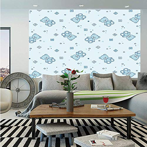 SoSung Nursery Huge Photo Wall Mural,Teddy Bears and Toys with Letters on Children Imagery Baby Blue Background,Self-Adhesive Large Wallpaper for Home Decor 108x152 inches,Baby Blue Aqua