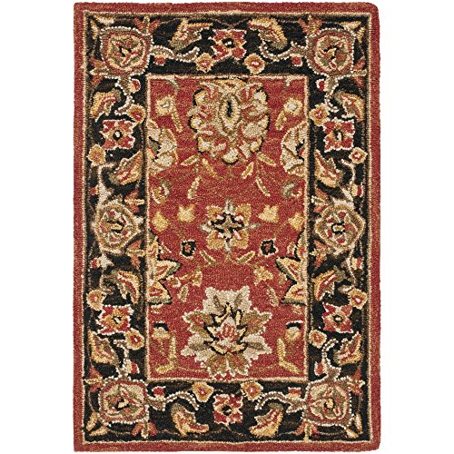 (Safavieh Chelsea Collection HK505C Hand-Hooked Rose and Black Premium Wool Area Rug (1'8