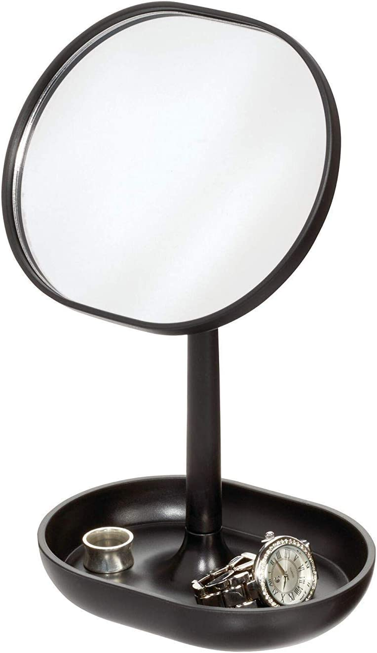 iDesign pie, pequeño redondo de plástico, espejo de baño giratorio con bandeja para guardar maquillaje o joyas, negro, 16,5 cm x 11,4 cm x 25,5 cm
