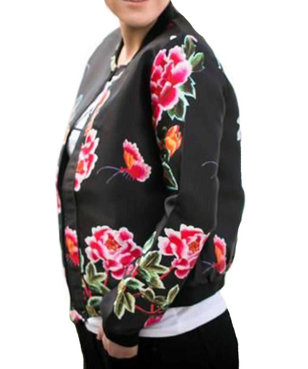 YILLEU Women Casual Long Sleeve Floral Print Stand Collar Lightweight Zip up Top Bomber Jackets with Pockets (XL, Big Flower)