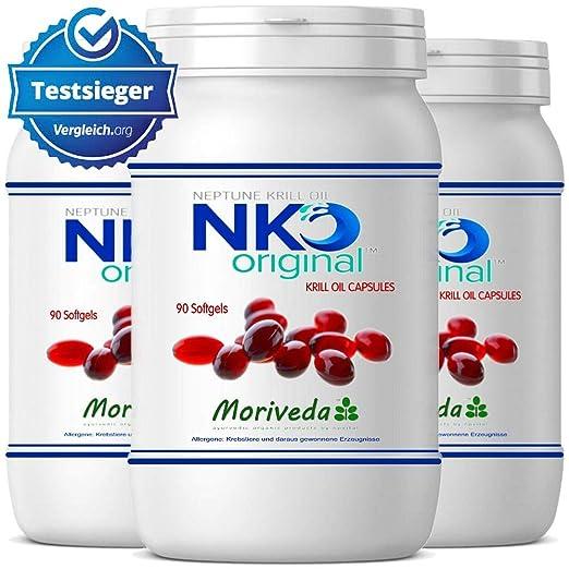 NKO aceite de krill cápsulas (ganador de la prueba) 30, 90 o 270 pieza en calidad de farmacia de MoriVeda - Omega 3,6,9 astaxantina, vitamina E, colina, ...