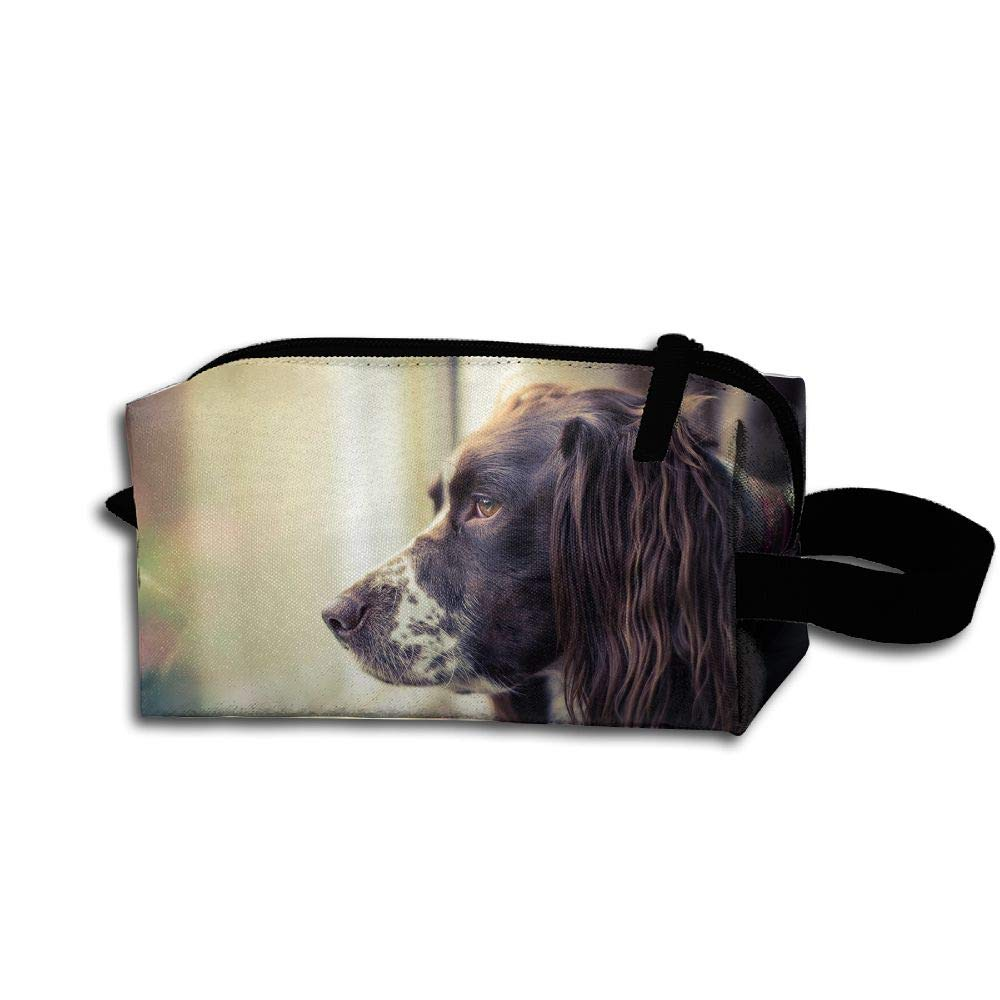 Makeup Cosmetic Bag Dog Look Out Window Medicine Bag Zip Travel Portable Storage Pouch For Mens Womens