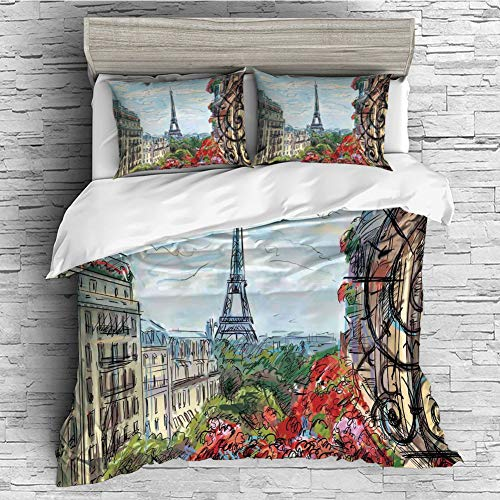 Soft Luxurious 4 Pcs Decorative Quilt Duvet Cover Set Comforter Cover Set(King Size) Paris City Decor,Street in Paris Town Traffic Trees Downtown Urban Life Exterior Monument Scene,