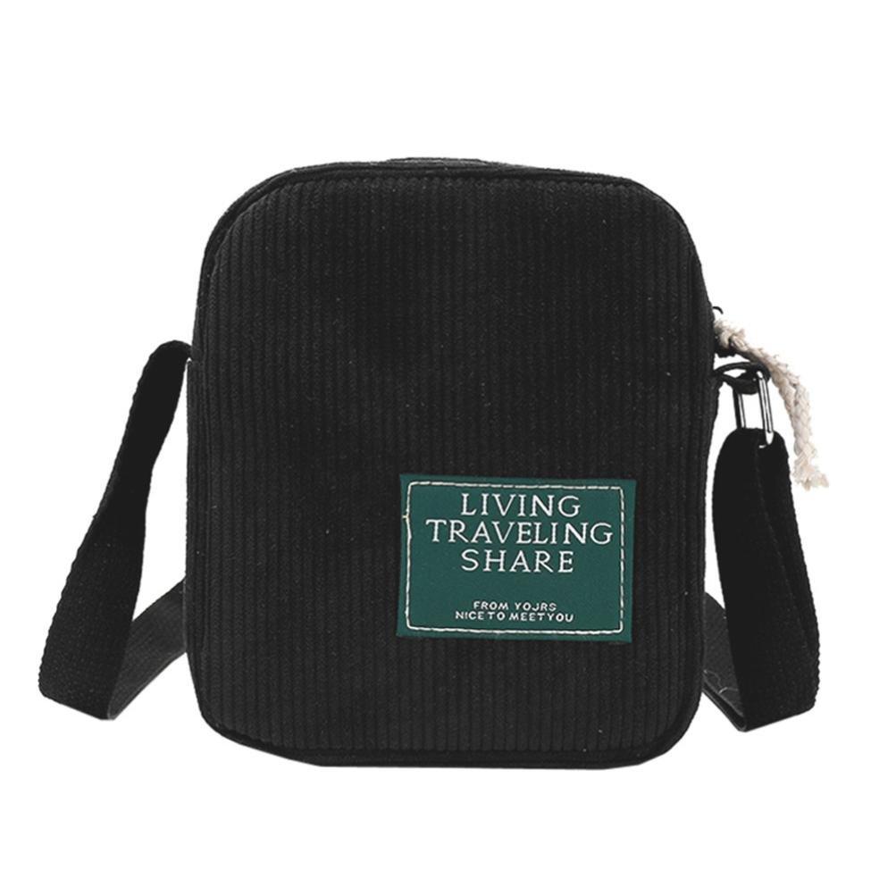 Clearance! Women Bags JJLOVER Fashion Corduroy Crossbody Bag Sport Phone Bag Messenger Bag Shoulder Bag (Black, One_Size)
