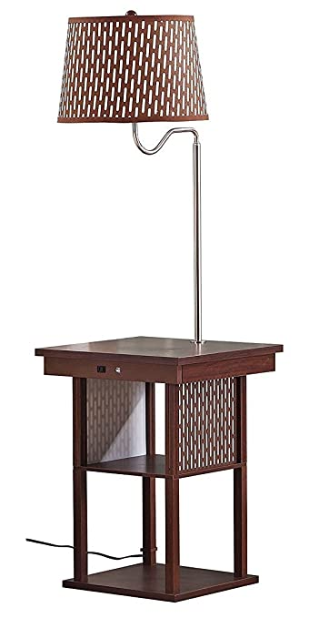Brightech Madison LED Floor Lamp Swing Arm Lamp w/ Shade & Built ...