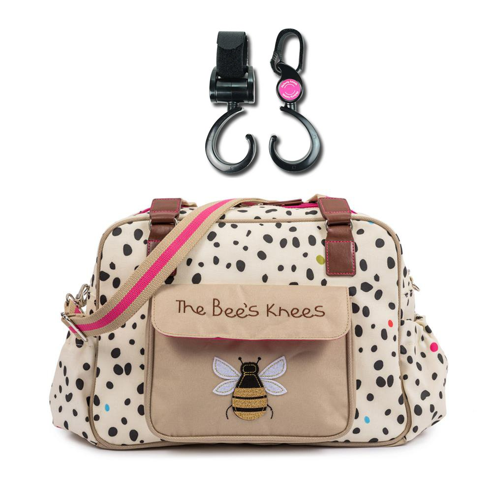 Pink Lining The Bee\'s Knees Stylish Nursery Changing Bag - Dalmatian Fever - Includes Travel Changing Mat, Wet Zip Bag Plus 1 Pack of Happy Mummy Hook n Stroll Pram Clips