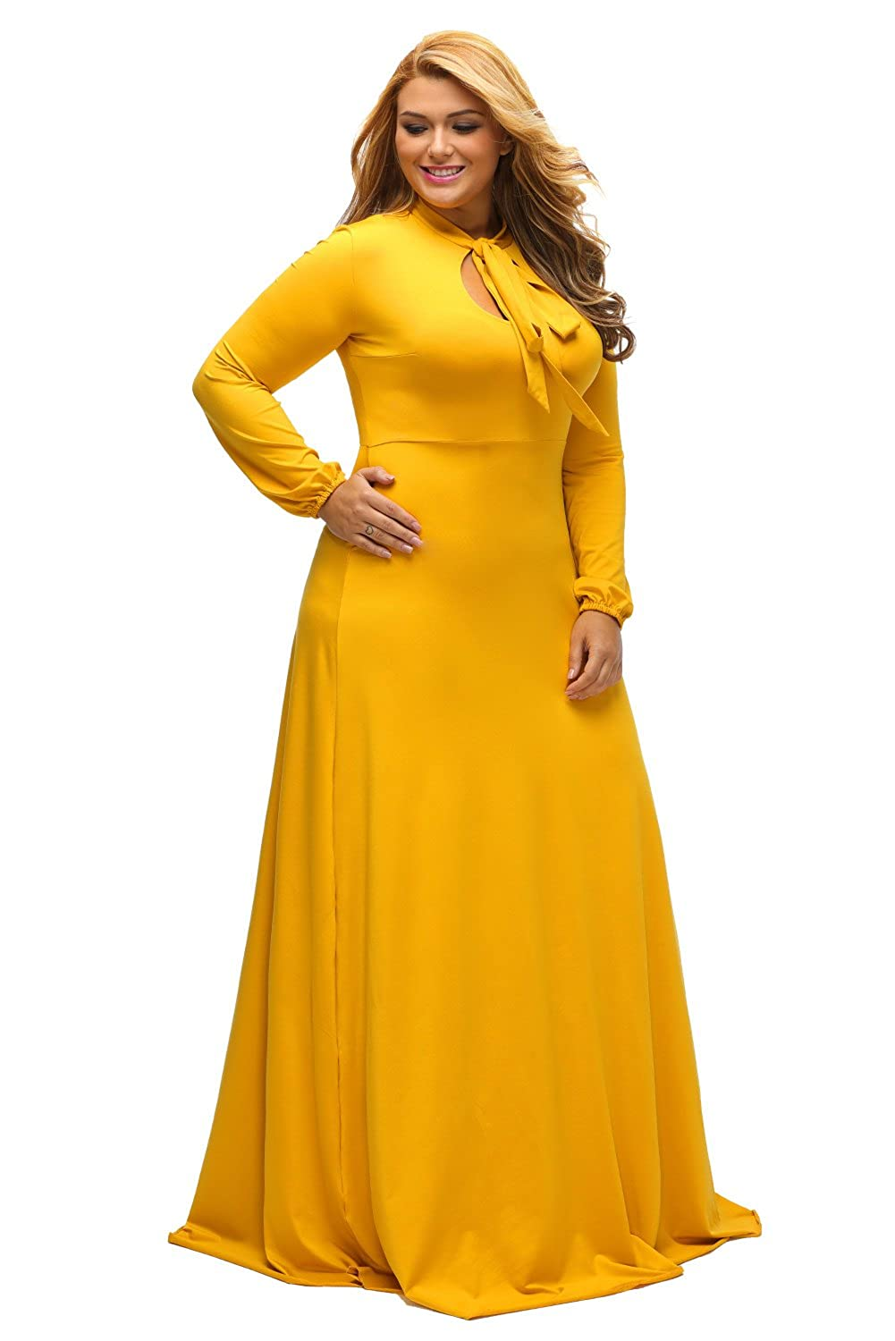e6a35ea9582e0 Lalagen Women's Vintage Long Sleeve Plus Size Evening Party Maxi Dress Gown  at Amazon Women's Clothing store: