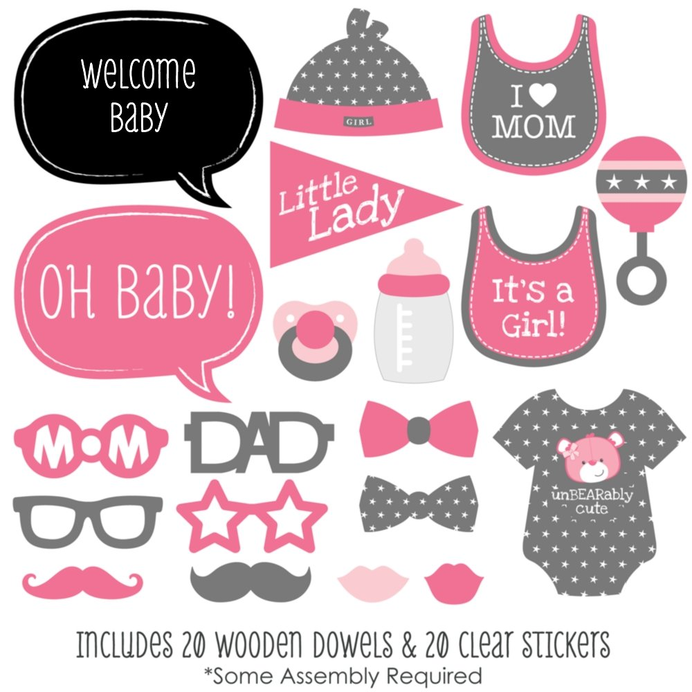 Amazon.com: Baby Girl   Baby Shower Photo Booth Props Kit   20 Count: Toys  U0026 Games