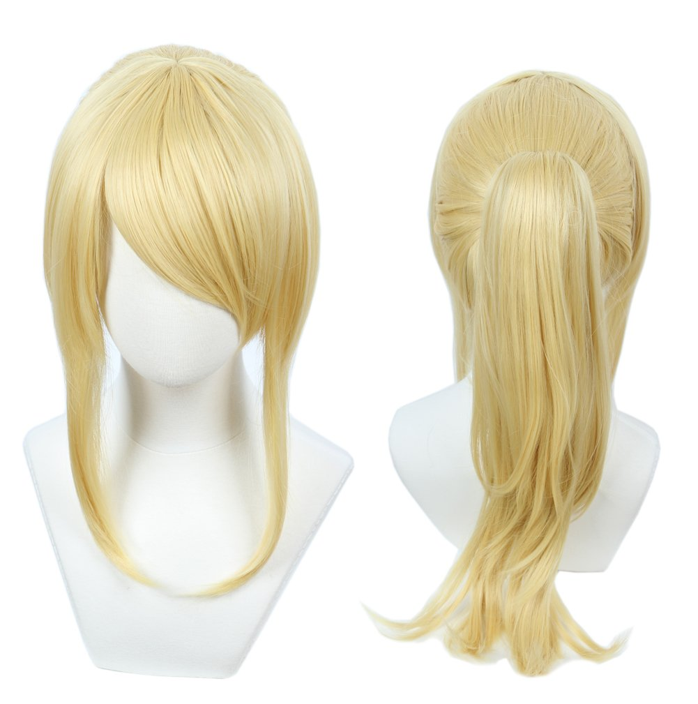 Linfairy Womens Blonde Wig Costume Cosplay Wig + 50cm Ponytail