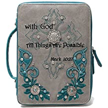 Cowgirl Trendy Embroidered Mark 10:27 Scripture Bible Verse Cover Books Case Cross Purse Messenger Bag