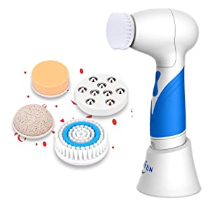 SKINFUN IPX7 Waterproof Facial Cleansing Brush Body and Face Scrubber Skin Microdermabrasion Exfoliator and Massager Bi-directional Rotation with 5 Brush Heads