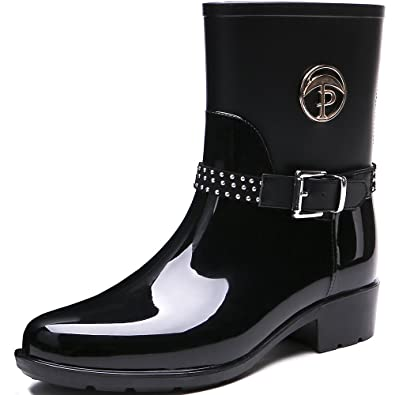 Women's Patachwork Rain Footwear Bukle Waterproof Rain Boots