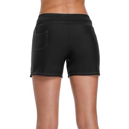 9868191cb2f Sociala Swim Shorts for Women High Waist Bathing Suit Bottoms Black  Boardshort M