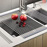 "Sturdy Extra Large Multipurpose -No Occupying Space Easily Store Heat Resistant Roll Up Dish Drying Rack --Fit for Stainless Steel Sink(20.8"" x 18.1"",Warm Gray)"