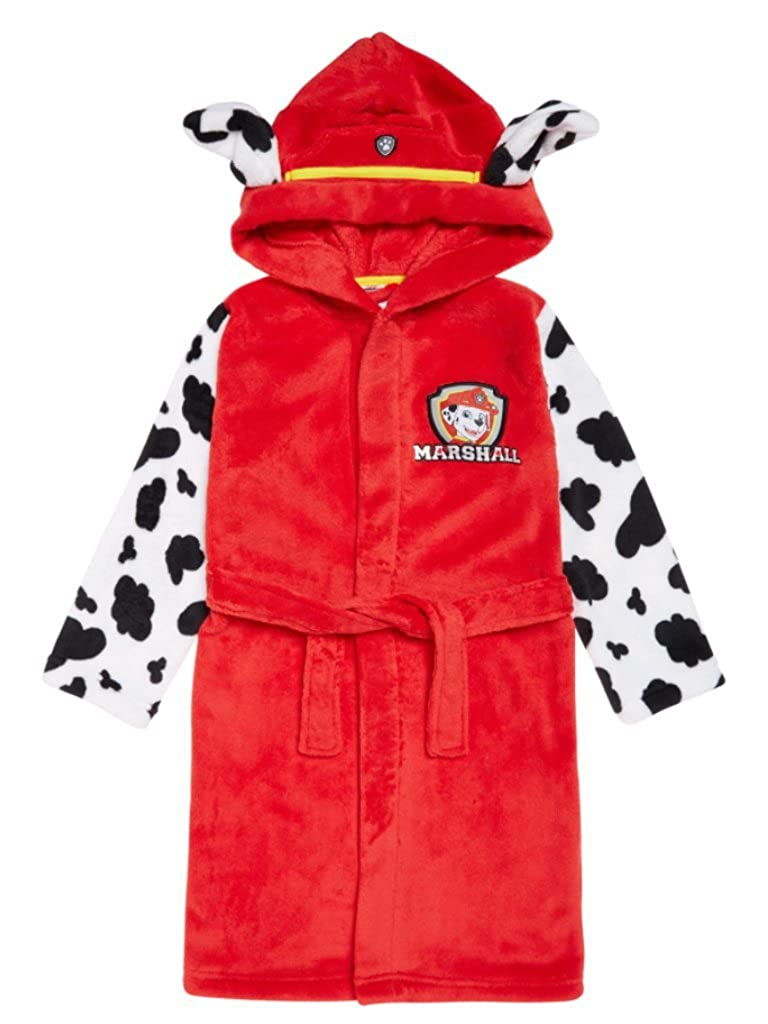 Boys Paw Patrol Dressing Gown Robe Hooded Marshall