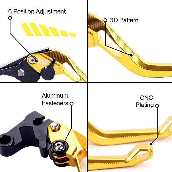 Auzkong Palancas de embrague de freno cortas ajustable para Yamaha YZF R1//R1M//R1S 2015-2019 YZF R6 2017-2019 Plata