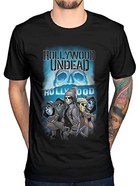 08980ae6340bd Amazon.com  Official Hollywood Undead Crew T-Shirt  Clothing
