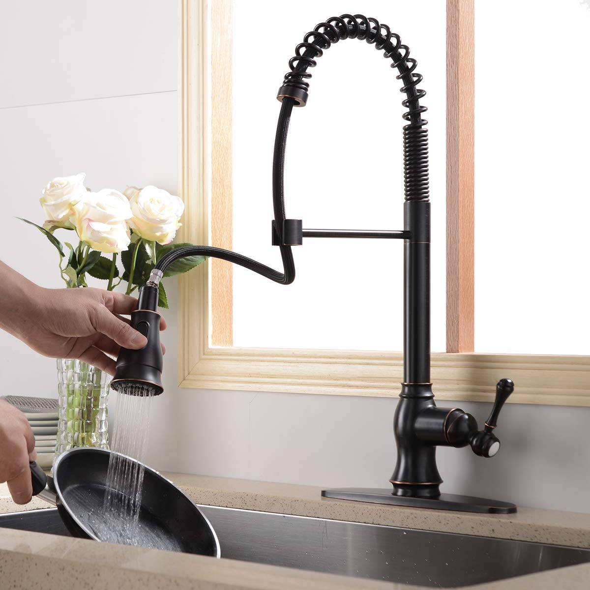 Antique Spring Single Handle Pull Down Sprayer Oil Rubbed Bronze Kitchen Faucet, Kitchen Faucet Bronze With Deck Plate by SHACO (Image #4)