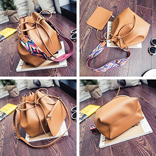 Shoulder Bucket Bag Drawstring Handbag Leather Pink Women Style Mini Textured Faux 8a4qxP1