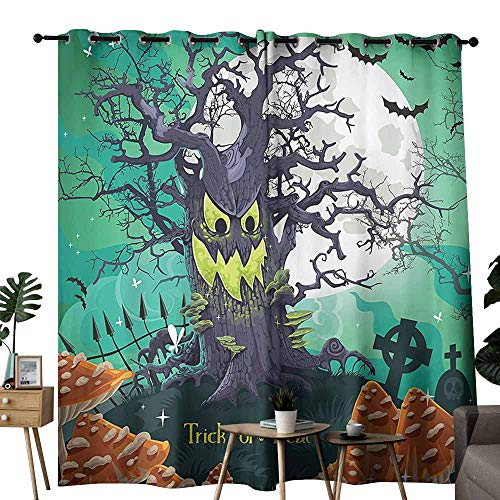 Mannwarehouse Halloween Exquisite Curtain Trick or Treat Halloween Theme Dead Forest with Spooky Tree Graves Big Mushrooms Kids Cartoon Set of Two Panels W72 x L108 Multi
