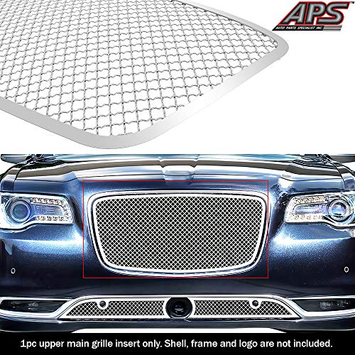 (APS Compatible with 2015-2019 Chrysler 300C 300S Upper Stainess Steel Chrome Mesh Grille R76378S)