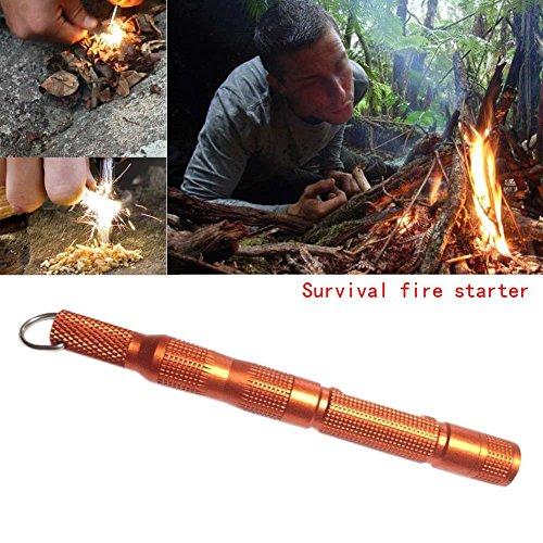 Enjoydeal Fire Starter, Magnesium SPARK Starter Aircraft Aluminum Emergency Survival Kit Camping Tool W Tactical Keychain Orange