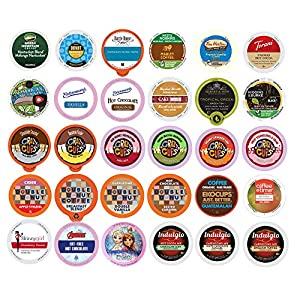 Coffee, Tea, Cider, Cappuccino and Hot Chocolate Single Serve Cups For Keurig K Cup Brewers Variety Pack Sampler, 30 Count (Mix Sampler)