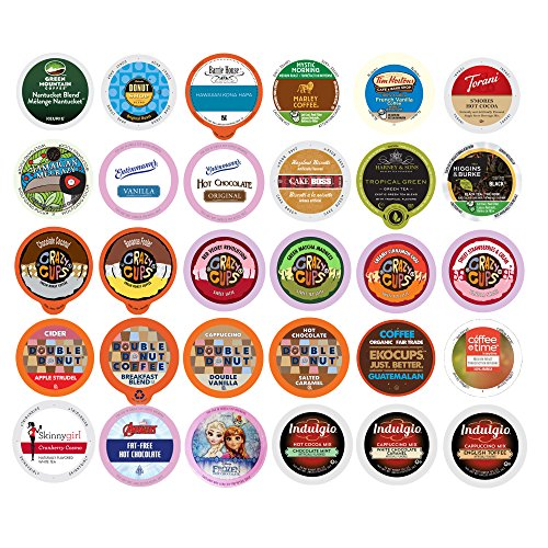 Coffee Pods Pack Variety (Coffee, Tea, Cider, Cappuccino and Hot Chocolate Single Serve Cups For Keurig K Cup Brewers Variety Pack Sampler, 30 Count (Mix Sampler))