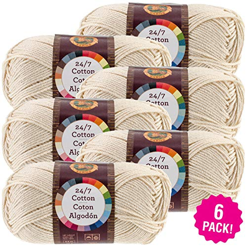 (Lion Brand 98694 24/7 Cotton Yarn-6/Pk-Ecru, 6/Pk Ecru 6 Pack)