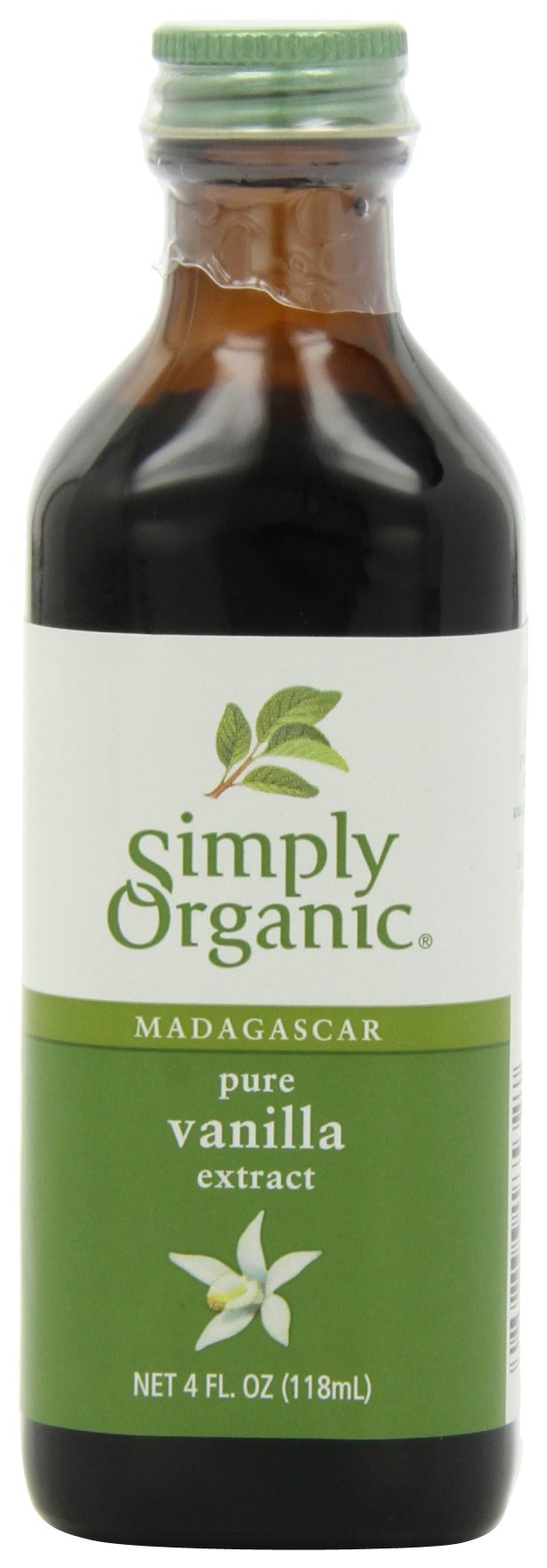 Simply Organic Pure Vanilla Extract Certified Organic, 4-Ounce Glass Bottles (Pack of 2)