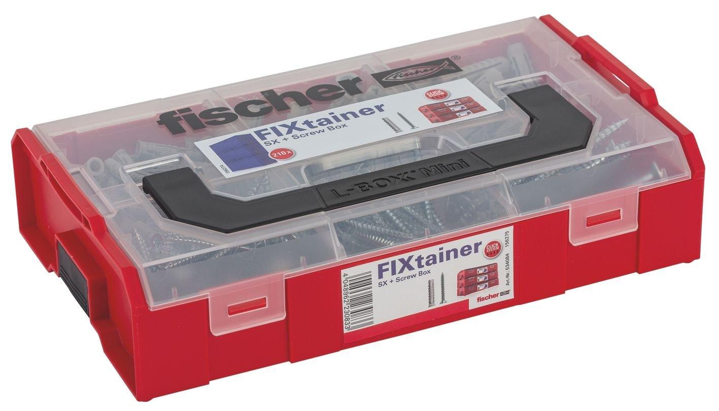Fischer FIXtainer SX + Viti, Valigetta 105 Tasselli da muro SX con viti, misure Assortite, 534084 Fischer Catalog Only IT