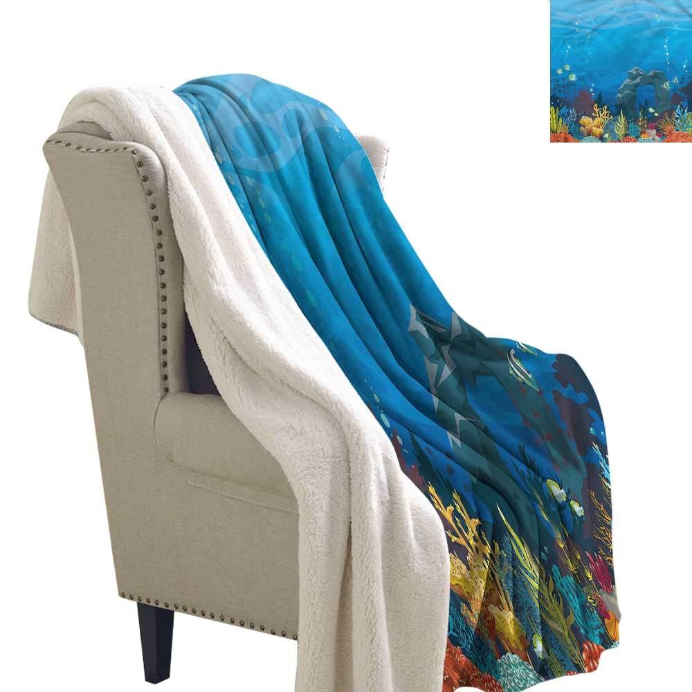 Pattern color28 W60\ Pattern color28 W60\ Beihai1Sun Aquarium Digital Printing Blanket Fish Coral and Stone Arch Fleece Blanket 60x32 Inch