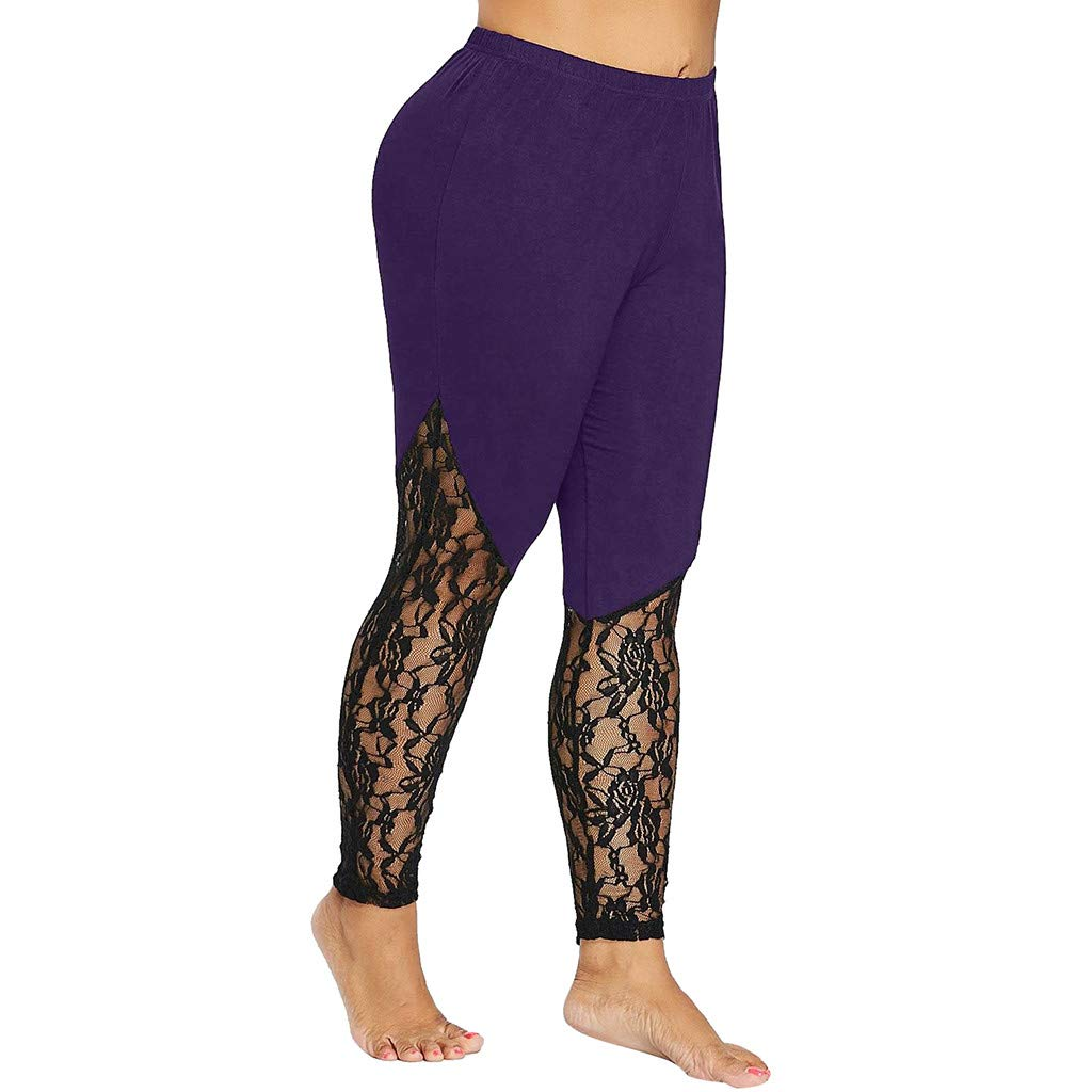 LuluZanm Fashion Women Lace Plus Size Skinny Pants Pull On Slim Fit Yoga Sport Pants Leggings Trousers