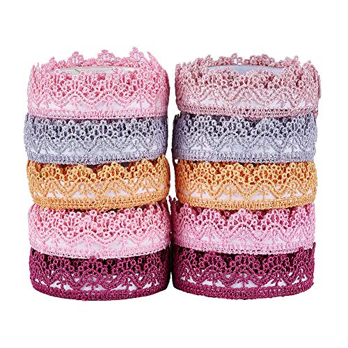 Fashewelry 10 Rolls Assorted Lace Fabric Trim Ribbon Tape Set 18mm Self Adhesive DIY Craft Scrapbooking Decorative Lace Tape (Style - Lace Roll Tape Fabric
